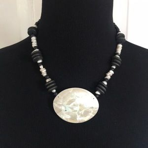 Beaded Collar Necklace with Pearl Pendant